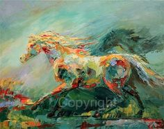 Thank you for visiting my paintings!  Fluid Motion Giclee reproduction  This horse of many colors is moving through the colors of a dream. The