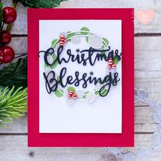 Christmas Blessings Wreath Card | Simon Says STAMPtember | Etched Eucalyptus Wreath My First Christmas, Christmas Cards, Pearl Shop, Simon Says Stamp Blog, Eucalyptus Wreath, Christmas Blessings, Happy Holidays, Party Planning, Cardmaking