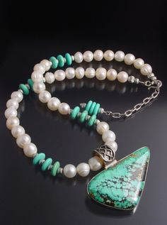 Handmade Sterling Silver, Turquoise and Pearl Necklace