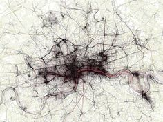 These images are part of a large collection of fifty city maps tracing geotagged photos from Flickr and Picasa. Eric Fischer determined the speed at which photographers travelled the various urban landscapes by analyzing their photos' timestamps and geotags, and plotting them on an OpenStreetMap background layer.