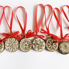 Christmas Ornaments - Snowflake on tree slices, hand wood burned on Etsy, $52.22 AUD