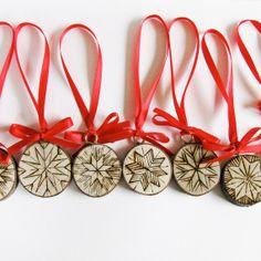 Christmas Ornaments - Snowflake on tree slices, hand wood burned on Etsy, $52.22 AUD