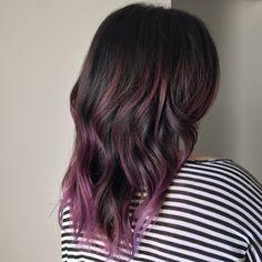 dark brown lob with purple under - Google Search