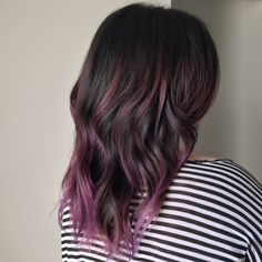 dark brown lob with purple under - Google Search