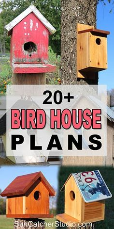 Outdoor Woodworking Projects Collection of free simple easy to build birdhouse plans. Woodworking Projects Collection of free simple easy to build birdhouse plans. Bird House Plans Free, Bird House Kits, Bat House Plans, Bird Feeder Plans, Bird House Feeder, Bird Feeders, Wooden Bird Houses, Bird Houses Diy, Building Bird Houses