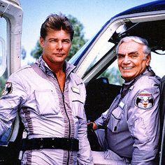 #ernestborgnine, stringfellow hawke (left),  #airwolf 80s tv show