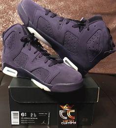 504c3be532f699 Nike Air Jordan 6 Retro VI GG Size 6.5y Dark Purple Dynasty White 543390 509  for sale online