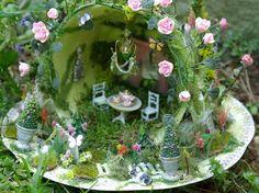 tea cup fairy garden by Kammy's Creations