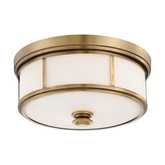 Minka Lighting Flushmount Light with White Glass in Liberty Gold Finish | 4365-249 | Destination Lighting