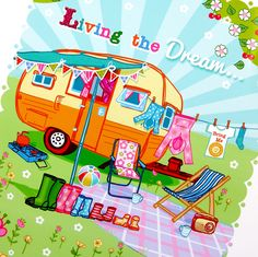 'Living The Dream' Unframed Print - Wohnwagen Camping Hacks, Camping Signs, Camping Glamping, Camping Ideas, Camping Oven, Camping Humor, Retro Campers, Camper Trailers, Happy Campers