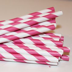 paper straws http://www.etsy.com/listing/78596996/50-hot-pink-striped-paper-straws-with