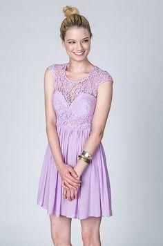 Lace Party Dress in Lilac #lace #lavender #lavendar #lilac #lace #capsleeve #party #dress $75
