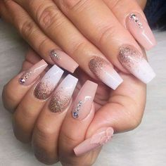 stylish dress before the New Year. There are new nail trends replaced by others year after year. Some nail designs give way to others and become less popular. Nails for New Years 2018 will be special too. We'll tell you about preferred colors, fashionable Gold Nail Designs, Acrylic Nail Designs, Acrylic Art, Ombre Nail Art, Acrylic Nails Coffin Ombre, Diamond Nail Designs, Rhinestone Nails, Bling Nails, Glitter Nails