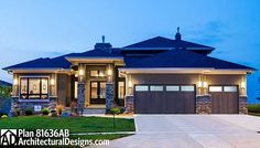 Amazing Prairie Style Home Plan - 81636AB   Contemporary, Northwest, Prairie, Luxury, Photo Gallery, Premium Collection, 2nd Floor Master Suite, Butler Walk-in Pantry, CAD Available, Den-Office-Library-Study, Elevator, Handicapped Accessible, MBR Sitting Area, Media-Game-Home Theater, PDF, Sloping Lot   Architectural Designs