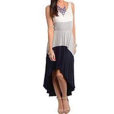 "Spotted while shopping on Poshmark: ""IVORY GRAY NAVY COLORBLOCK HI LO MAXI DRESS (S)""! #poshmark #fashion #shopping #style #Dresses & Skirts"
