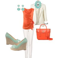 Coral and teal, love it!.... but not the pants. I don't do white... not the jacket either. LOL.