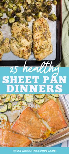 These 25 Healthy Sheet Pan Dinners are perfect for busy weeknights. Paleo gluten free and simple to make - these one pan meals are delicious and easy! Low carb to vegetarian shrimp chicken and sausage - these easy meals are for everyone! Easy Meal Prep, Healthy Meal Prep, Easy Meals, Healthy Dinners, Healthy Eats, Healthy Turkey Recipes, Healthy Gluten Free Recipes, Whole30 Recipes, Diabetic Recipes