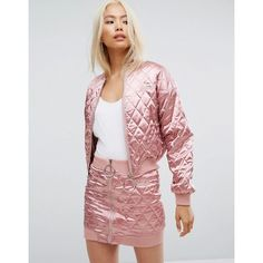 Missguided Barbie Quilted Bomber Jacket ($95) ❤ liked on Polyvore featuring outerwear, jackets, pink, cropped bomber jacket, tall bomber jacket, embroidered bomber jacket, cropped jacket and logo jackets