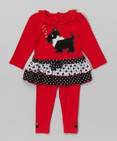 Red Scottie Dog Ruffle Tunic & Leggings - Infant, Toddler & Girls #zulily #zulilyfinds