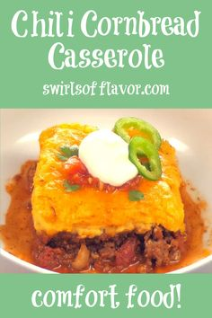 A saucy homemade ground beef chili is smothered with a cheesy creamy cornbread topping and baked until hot, bubbly and golden! Sure to be a family favorite comfort food recipe!