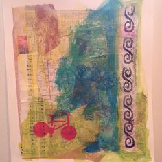 """Mixed media on paper for Day 13 of #30DoC, """"Bicycle"""""""