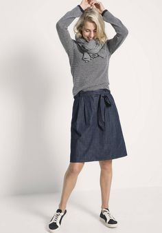 Jeansrock aus reiner Bio-Baumwolle Waist Skirt, Midi Skirt, High Waisted Skirt, Jeans Rock, Skirts, Fashion, Green Fashion, Fashion Women, Cotton