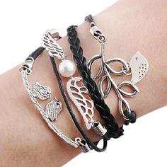 EUR € 2.87 - Angel Wings Bird Olive Branch lederen armbanden Vintage Infinity armband, Gratis Verzending voor alle Gadgets!