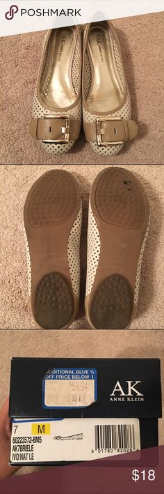 Anne Klein cream with tan buckle flats Anne Klein cream with tan buckle flats - women's 7 (great condition) Anne Klein Shoes Flats & Loafers