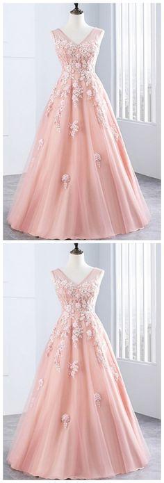 Prom Dresses,new prom dress,Stylish pink tulle long V neck lace up sweet 16 prom dress appliques #modestpromdress #newpromdress #2018fashions #newstyles #tulle #pinkpromdress