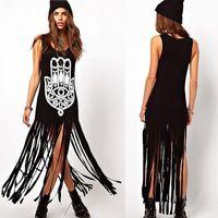 BOHO PEOPLE Long Boho Style Hippie Clothing Women Tassel Hamsa Hand Print Black Hippy Tank Top Dress Vestidos Longos de Verao