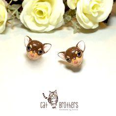 Chihuahua Dog Earrings Stud Earrings polymer clay dog hand