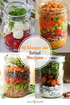 Let's face it: Salads can get pretty boring. Up the ante at lunchtime with these tasty and creative recipes for mason jar salads. via @dailyburn