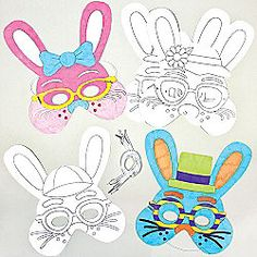 Easter Bunny Colour-in Masks for Children to Make Decorate and Wear (Pack of 6)
