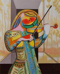 I found this artwork online, playing the violin.