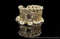 Beige Color Crochet Bracelet Cuff. Tiger Eye Crochet Bracelet. Beaded Crochet Bracelet. Freeform Crochet Bracelet Cuff. MADE TO ORDER