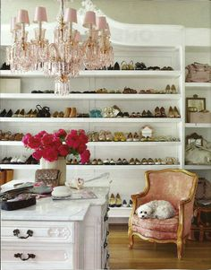 Designer Annie Brahler's closet - Belle Epoque pink crystal chandelier, antique armoire fabricated for shoes/handbags