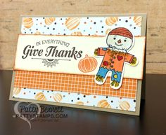 Halloween Night Fall Card ideas featuring Stampin' Up! Halloween Cookie Cutter Scarecrows  By Patty Bennett, www.PattyStamps.com