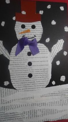 snowman art made with book paper
