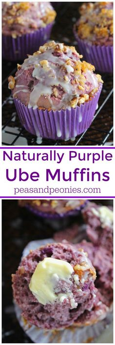 Ube muffins are insanely delicious and naturally purple. Topped with toasted walnuts and brown sugar these are fun to make and fun to eat.