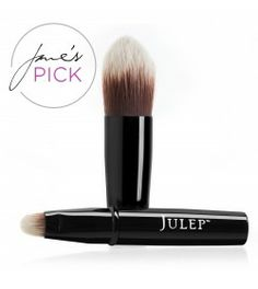 Double Duty Makeup Brush | Julep - Nice brush, but annoying.  I liked the way Julep's DD Creme and Concealer went on with the brush, but it keeps separating into two pieces in my hand.  I'm torn - I love that one brush fits inside the other, that's great for travel - but I don't like the length of the handle when the two pieces are separate, so I really don't enjoy using them that way.