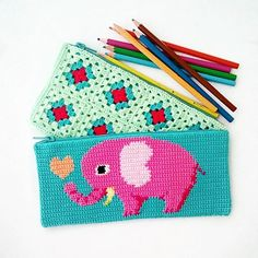 granny square and tapestry crochet purse More