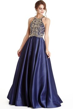 Prom Gown APL1723.  Full Length A-Line Prom and Evening Gown has Intricate Beading and Gemstones Embellished Halter Bodice with Open Shoulders and Cutout Back with Zipper Closure, Softly Gathered Skirt Completes the Style with Elegance.  https://www.dresstopic.com/prom-dresses/prom-gown-apl1723