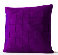 Decorative Pillow Purple  Felt Pillow Cushion Throw by AmoreBeaute