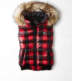 Red AEO Get Down Buffalo Check Puffer Vest