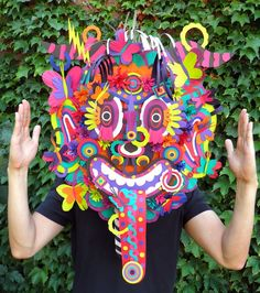 Michael Velliquette: Second Skin mask (via It's Nice That) Craft Activities For Toddlers, Paper Art, Paper Crafts, Cut Paper, Its Nice That, Skin Mask, Middle School Art, Art Lessons Elementary, Art Plastique