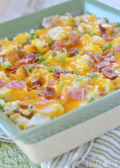 If you love twice baked potatoes, you'll go crazy for this easy casserole recipe! Twice Baked Potato Remix has all the flavors of twice baked potatoes, but in casserole form. You bake the potatoes first to get a crispy skin, then bake!