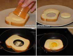 Este huevo cocinado dentro del pan es más divertido de comer que si se preparan por separado. Es muy sencillo y puede prepararse con diferentes formas utilizando distintos moldes para cortar el pan. En esta ocasión hemos hecho un simple círculo, pero si tienes algún molde con forma de corazón,