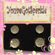 Clear - Rhinestone - Circular - Crystal - Stud - Earrings by YouveGotSparkle on Etsy