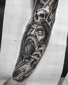 Posseidon Tattoo, Hades Tattoo, Zeus Tattoo, Forarm Tattoos, God Tattoos, Forearm Tattoo Men, Body Art Tattoos, Tattoos For Guys, Traditional Viking Tattoos