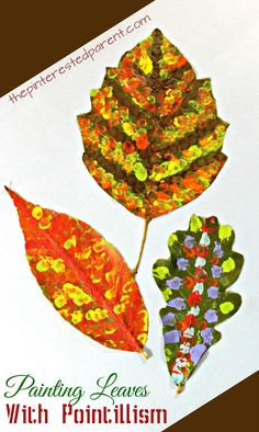 Pointillism fall leaf art inspired by Seurat. Impressionism and painting for kids Fall Arts And Crafts, Fall Crafts For Kids, Art For Kids, Kid Art, Summer Crafts, Autumn Art, Autumn Leaves, Leaf Projects, Art Projects